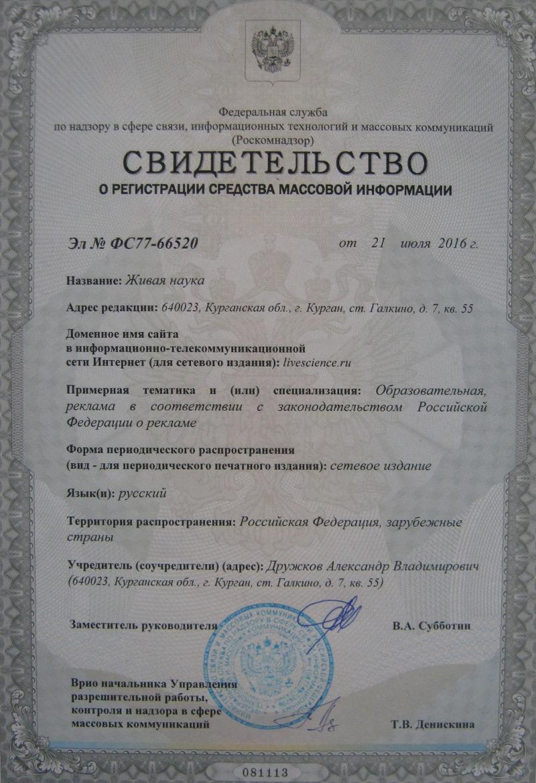 Свидетельство о регистрации сайта в качестве СМИ